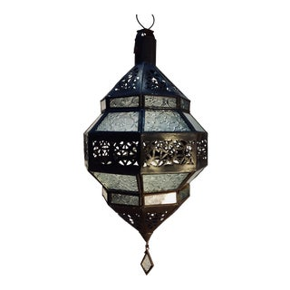 Moroccan Handcrafted Metal and Clear Glass Lantern, Octagonal Shape For Sale