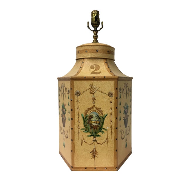 Vintage Chinese Export English Tea Caddy Lamps For Sale