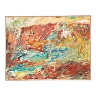 """Large Vintage Abstract Landscape """"Earth & Water Power"""" by Ellen Reinkraut For Sale"""