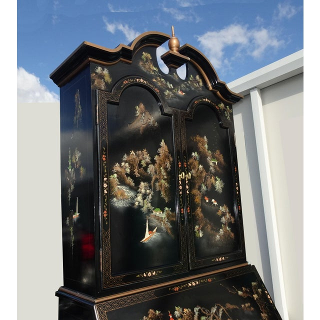 Vintage Chinese Asian Black Lacquer Chinoiserie Secretary Desk Hutch Hand Paint For Sale In Los Angeles - Image 6 of 13