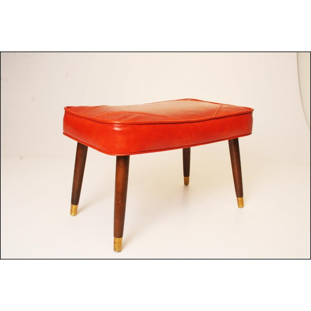 Mid-Century Modern Orange Vinyl Foot Stool - Image 3 of 11