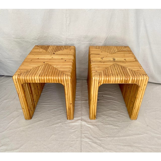 Mid-Century Modern Vintage Split Reed Rattan Waterfall End Tables- a Pair For Sale - Image 3 of 13