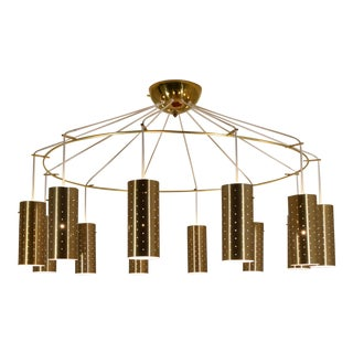 Brass Commercial Modernist Chandelier, 1955 For Sale