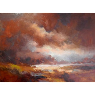 """Abstract Expressionist Soft Contrast Between Light and Dark Landscapes, """"After the Rain"""" For Sale"""