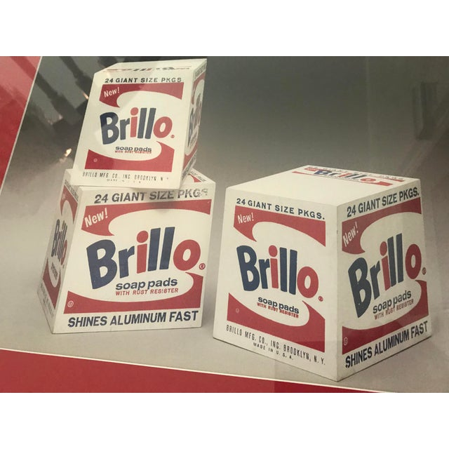 "Photograph Print of 3 Andy Warhol Brillo Boxes. Professionally Framed in a whitewashed wood 1.5"" frame. 2.5"" Red Matte...."