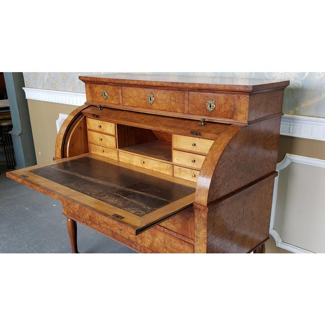 Restored Antique 19th Century Burled Elm Roll Top Cylinder Desk C1860 For Sale In New York - Image 6 of 13