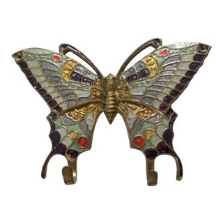 20th Century Boho Chic Butterfly Brass Hook For Sale