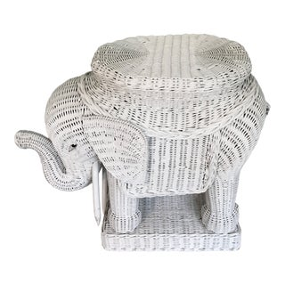 White Wicker Elephant Side Table For Sale