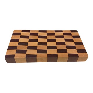 End Grain Checkerboard Cutting Board With Walnut and Mahogany Wood For Sale