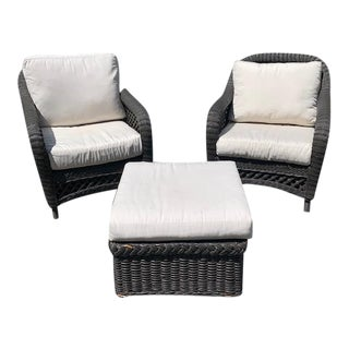 Traditional Wickers Works Wicker Lounge Chairs With Ottoman For Sale