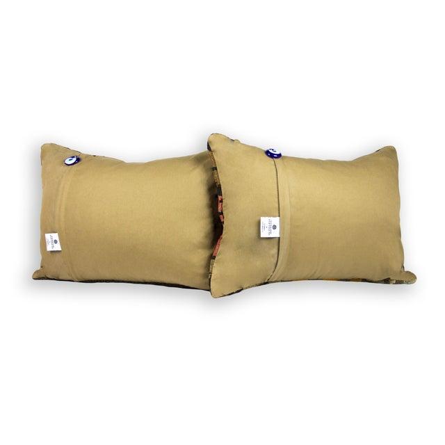 Vintage Lumbar Kilim Pillows - Pair - Image 3 of 3