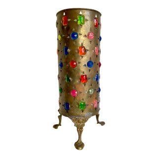 Vintage Pakistan Brass Cylindrical Table Lamp For Sale