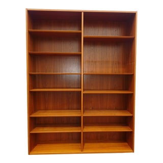 Vintage Poul Hundevad Danish Mid Century Modern Double Bookcase Made in Denmark For Sale