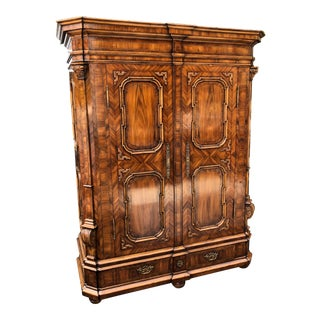 Alphonso Marina for Ebanista Exotic Burl Inlaid Wardrobe Linen Press Cabinet