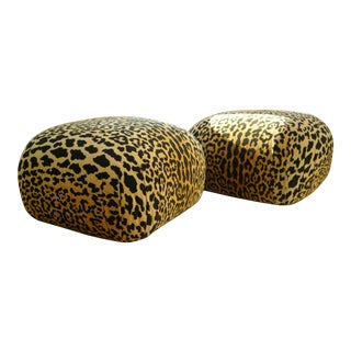 Vintage Leopard Oversized Poufs on Casters - a Pair For Sale