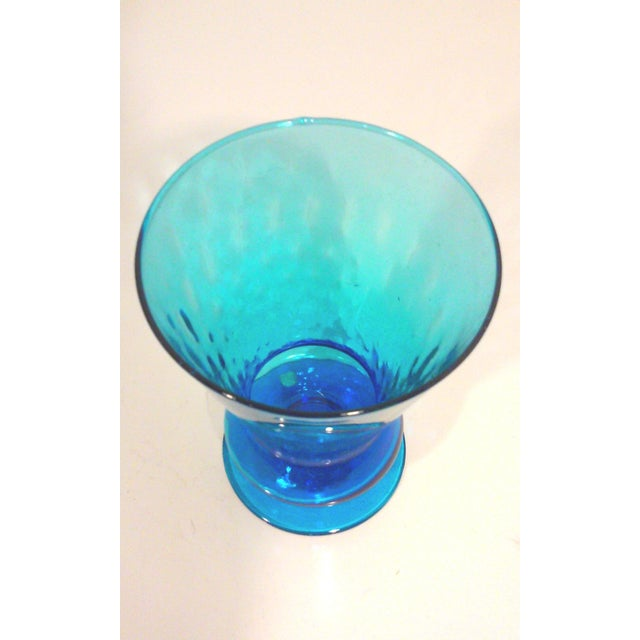 Italian Azure Blue Footed Vases - Pair - Image 6 of 8