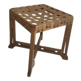 Image of Antique Hand Crafted Wooden & Leather Stool For Sale