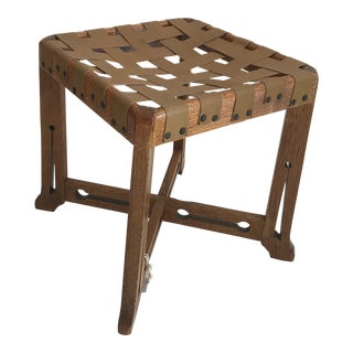 Antique Hand Crafted Wooden & Leather Stool For Sale