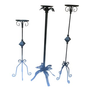 Wrought Iron Candle Holders - Set of 3