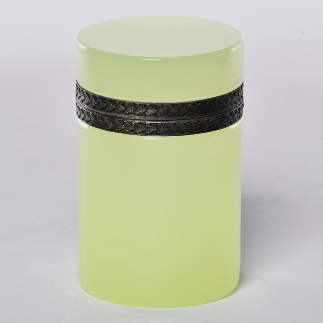 Gold French Opaline Uranium Glass Cylindrical Hinged Box For Sale - Image 8 of 8