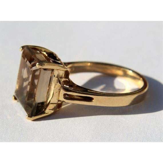 14k Gold Smokey Topaz Ring For Sale - Image 4 of 6