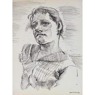 Modernist Portrait Study in Ink 1940-60s For Sale