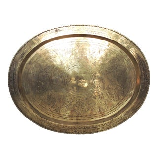 Large Vintage Chinese Mythical Brass Tray or Side Table Top / Wall Hanging (Hong Kong) For Sale