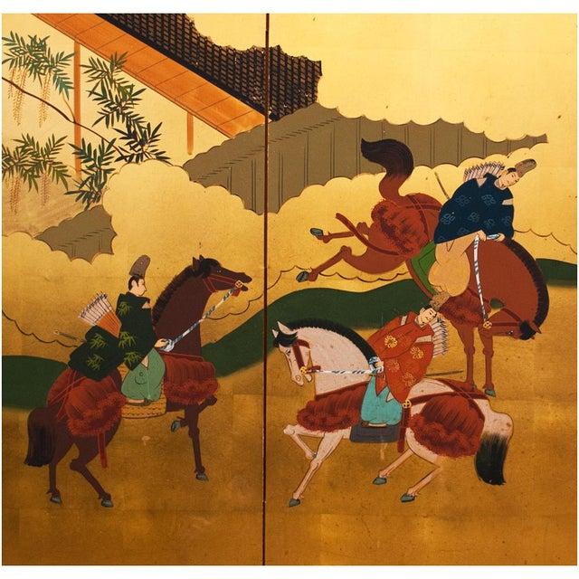 "Shōwa Era ""The Tale of Genji"" Gold-Leaf Japanese Byobu Screen For Sale - Image 4 of 13"