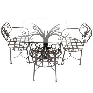 Lovely Curlicue French Style Wrought Iron Garden Patio Set With Glass Table For Sale