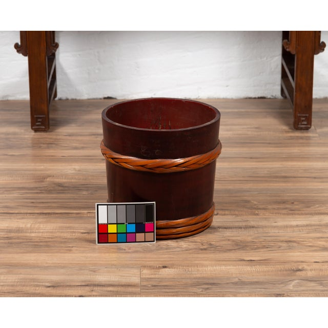 Vintage Chinese Wooden Barrel Planter with Rope Design with Red Undertone For Sale - Image 9 of 10