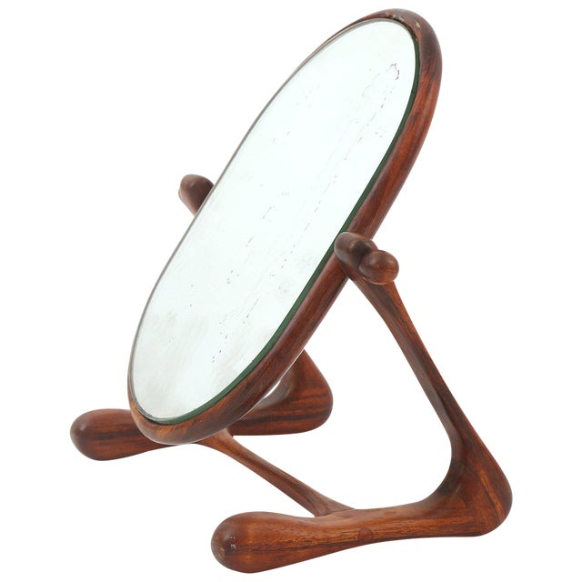 Sculptural Studio Cocobolo Mirror For Sale