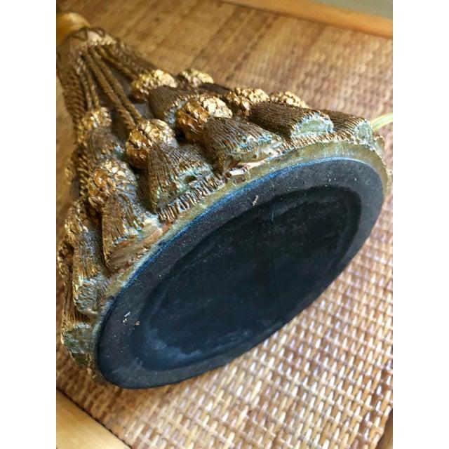 Hollywood Regency Metallic Tassel Lamp For Sale - Image 4 of 6