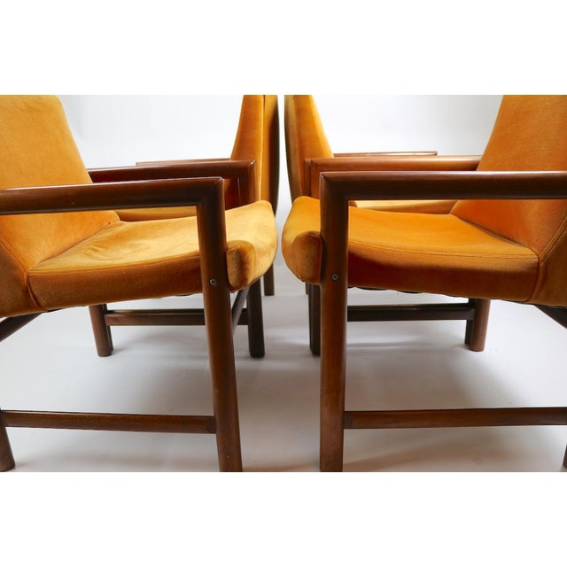 Milo Baughman Set of 6 Rosewood Frame Dining Chairs by Baughman For Sale - Image 4 of 13