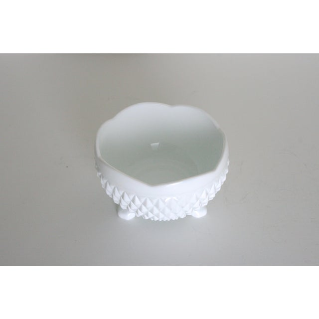 Modern Vintage Mid-Century Milk Glass Footed Catchall Bowl or Candy Dish For Sale - Image 3 of 5