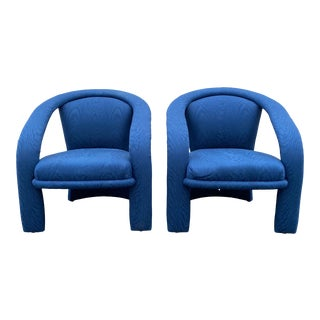 Carson's Blue Upholstred Sculpture Chairs - a Pair For Sale