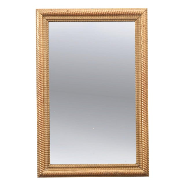 French 19th Century Rectilinear Gold Gilt Mirror For Sale