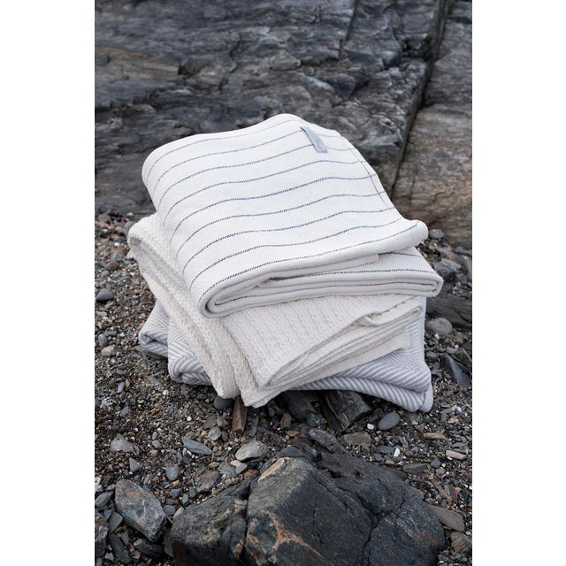 Contemporary Full/Queen Bright White Cable Knit Blanket For Sale - Image 4 of 5