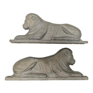 1950s Figurative Cast Aluminum Lion Fence Toppers - a Pair For Sale