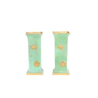 English Green Glazed & Parcel Gilt Porcelain Vases - a Pair For Sale