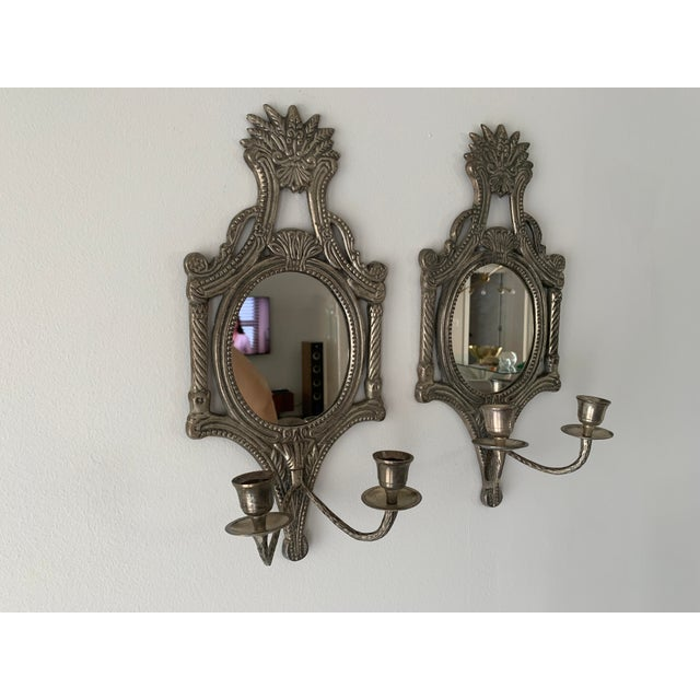 Mirrored Candle Wall Sconces - a Pair For Sale In Miami - Image 6 of 8