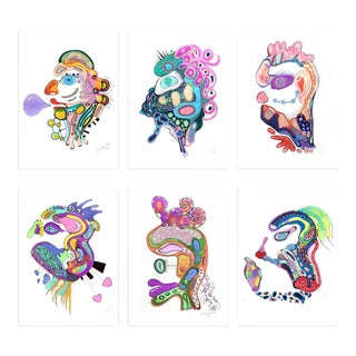 "J. Silverhoof's ""Faces"" Series Drawings Paper - - Set of 6 For Sale"
