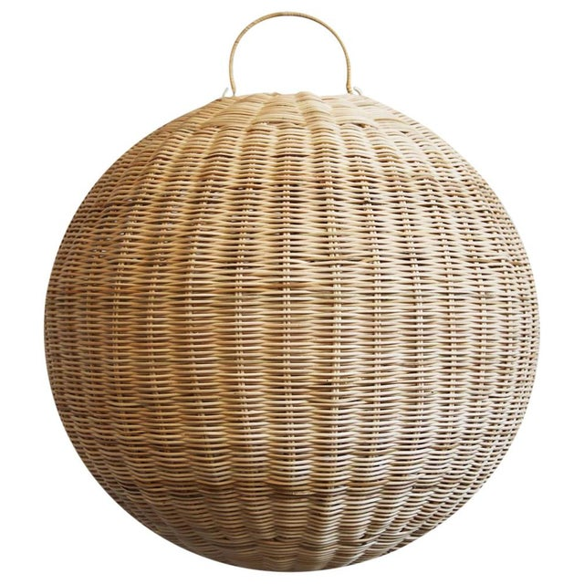 Raw Rattan Globe Lantern Large For Sale - Image 5 of 5