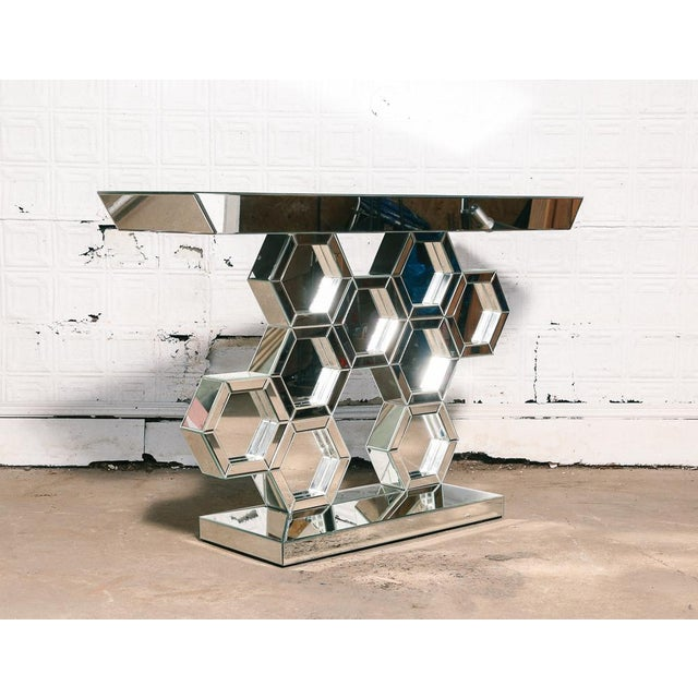 Art Deco Vintage Mirrored Console Table For Sale - Image 3 of 7