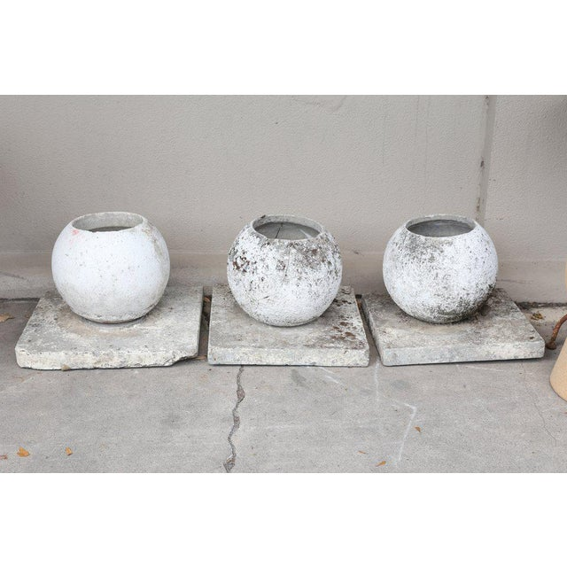 Mid-Century French Cast Stone Sphere Planter Trio For Sale - Image 4 of 11