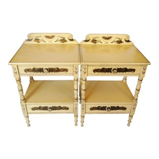 Antique L. Hitchcock 2-Drawer Legacy Stenciled Nightstands - a Pair