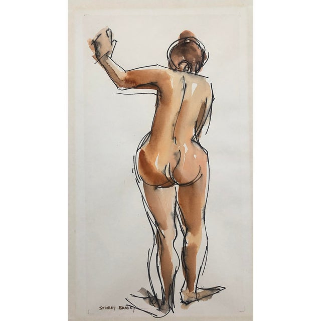 Standing Female Nude From the Rear by Stanley Brodey, 1950s For Sale