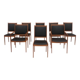 Mid-Century Modern Teak Dining Chairs- Set of Eight For Sale