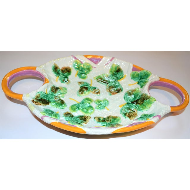 Boho Chic Vintage Mottahedeh Majolica Platter For Sale - Image 3 of 7