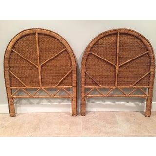 1960s Boho Chic Twin Wicker Rattan Headboards - a Pair Preview
