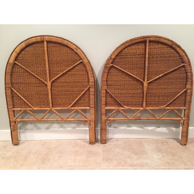 A stunning pair of vintage wicker rattan twin headboards. This would be amazing in a kid's room or even retrofitted...